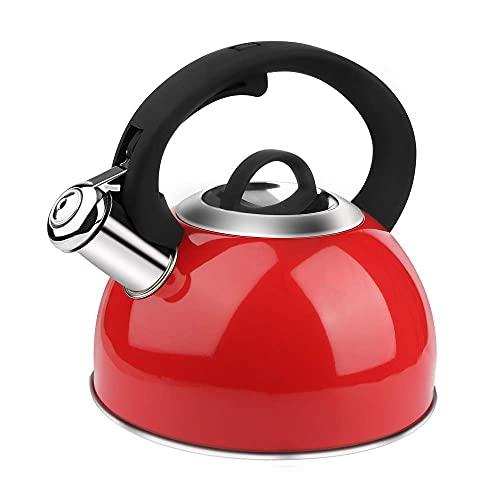 AIDEA Tea Kettle, 2 Quart Whistling Stainless Steel Tea Kettle for Stovetop Dark Red