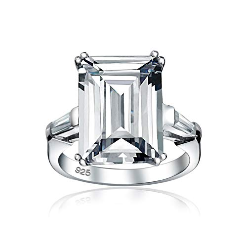 Art Deco Style Bridal Wedding Big 10CT Cubic Zirconia .925 Sterling Silver Solitaire Emerald Cut With Baguette Side Stones AAA CZ Statement Engagement Ring For Women