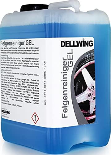 DELLWING Felgenreiniger Gel mit Wirkindikator 5 L - Säurefreier Felgenreiniger für die mühelose Entfernung von hartnäckigen Verschmutzungen