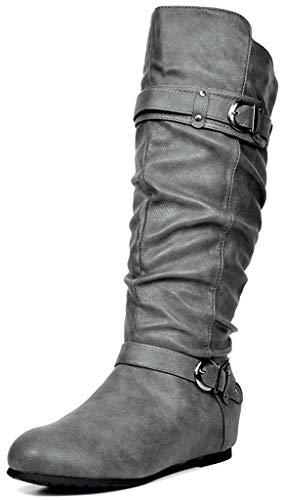 DREAM PAIRS Women's JOIES Grey Knee High Low Hidden Wedge Boots Wide Calf Size 8 M US