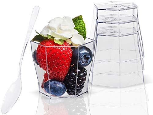Lawei 100 pack 2 oz Plastic Dessert Cups with 100 Plastic Spoons - Hexagonal Mini Bowl Disposable Bowls for Chocolate Desserts, Appetizers, Dessert Samplers, Dessert Shot Glasses & More…