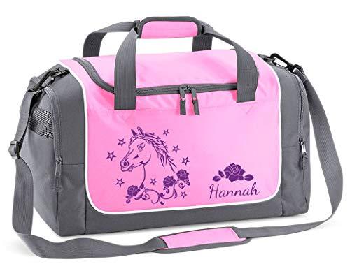Mein Zwergenland Sporttasche Kinder personalisierbar 38L, Kindersporttasche mit Name und Pferd Bedruckt in Rosa