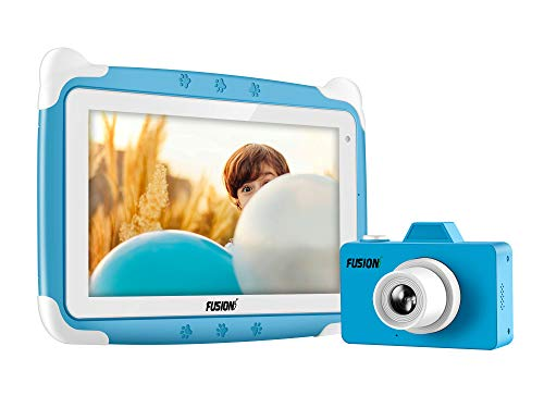 Fusion5 Kids Tablet PC and Kids Camera Combo Deal - Designed for Kids - Learn, study, fun, parental controls (Blue)