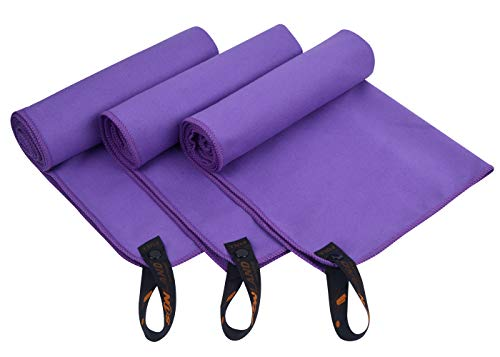 SUNLAND Microfiber Sports Gym Towels for Fitness, Workout, Yoga, Fast Drying Sweat Towels 3 Pack 16 inch X 32 inch