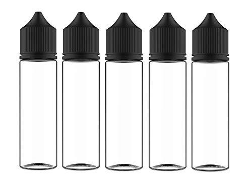 Chubby Gorilla V3 Flasche für E-Liquid - Klare Flasche Mit Schwarze Deckel, 5x 60 Milliliter