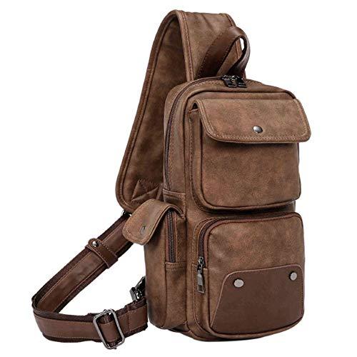 SPAHER Bolsos de Hombro de Pecho Cuero Genuino Crossbody Bolso de Hombro Bolsos de Mochila Messenger Bag Daypack para el Negocio Casual Sport Senderismo de Viaje