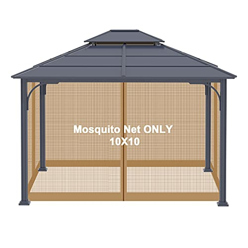 Gazebo Universal Replacement Mosquito Netting - Viragzas Adjustable Screen Sidewalls Curtain Mesh Panels Netting Walls with Zipper FIT for Patio 10'x10' or 10'x12' Canopy Tent (Khaki, 10x10)