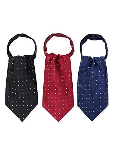 WANYING 3 Krawattenschals Ascotkrawatten für Herren Schal Cravat Ties Einfach Schick für Gentleman - 3 in 1 Gepunktet Schwarz Dunkelblau Bordeaux