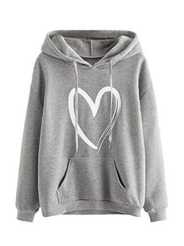 SweatyRocks Women's Casual Heart Print Long Sleeve Pullover Hoodie Sweatshirt Tops Grey XL