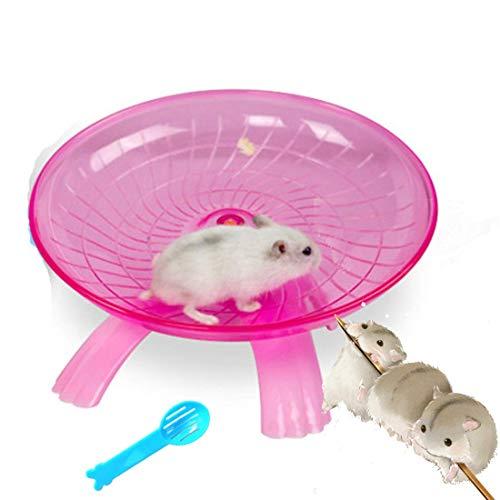 Yiteng ペット用品 ハムスター 回し車 走る おもちゃ シャベル付き清掃用 ストレス解消 ケージアクセサリー フライングソーサー回し車 (ピンク)