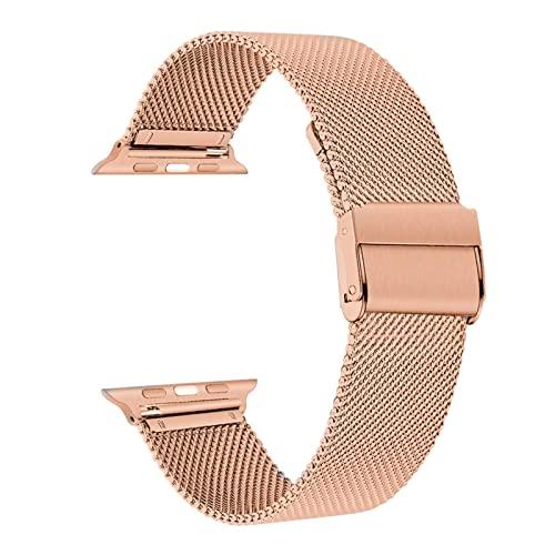 YYAN Ajuste for iWatch 5 Bandas 44 mm 40 mm de Acero Inoxidable Malla de Malla Correa Correa for la Banda de Reloj de Apple 42mm 38mm Strap Serie 5 4 3 Pulsera de Pulseira (Band Color : Rose Gold)