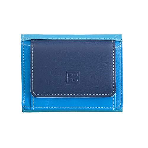 Portafoglio donna trifold piccolo di pelle con portamonete DUDU Blu
