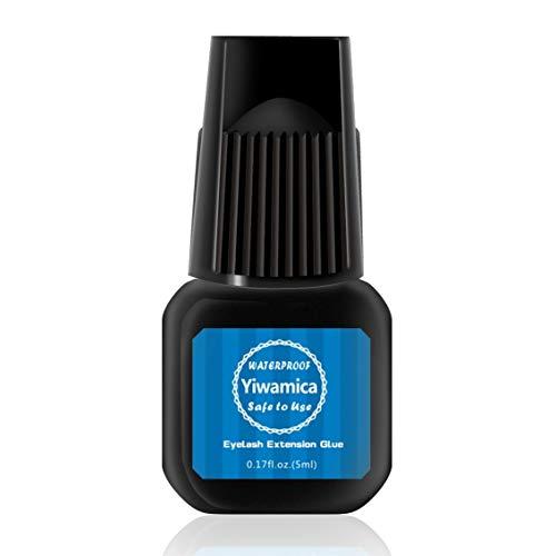 Eyelash Extension Glue 5ml |1 Sec Fast Drying | Up to 8 weeks Long Lasting | Maximum Bond Power | Semi-permanent Black Adhesive For Professional Use - Yiwamica