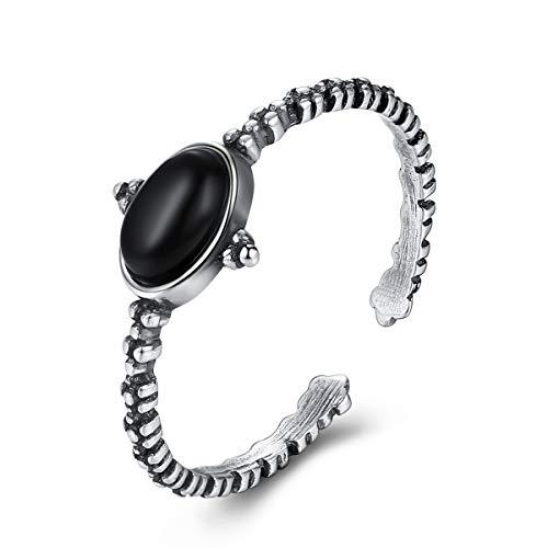 Esberry - Anello in argento Sterling 925, semplice, retrò, in ossidiana, regolabile, idea regalo per donne