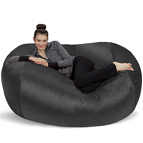 Sofa Sack - Plush Bean Bag Sofas with Super Soft Microsuede Cover - XL Memory Foam Stuffed Lounger Chairs for Kids, Adults, Couples - Jumbo Bean Bag Chair Furniture - Charcoal 6'