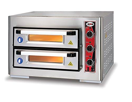 GMG Profi Pizzaofen CLASSIC PF 5050 DE3 für Gastronomie, 2 Backkammern / Doppelkammer dual - 4 + 4 x Ø 25 cm Pizzen - 51x51x10cm, bis zu 450°C, 6000 Watt