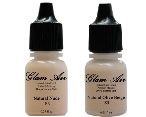 Airbrush Makeup Foundation Satin S3 Natural Nude and S5 Natural Olive Beige Water-based Makeup Long Lasting All Day Without Smearing Running, Fading or Caking 0.25 Oz Bottle By Glam Air by Glamair