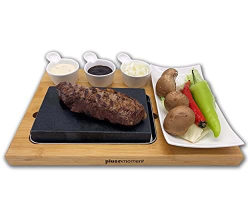 plusmoment Lavastein Hot Stone Steak Brett Set Bambusbrett, Lavastone Porzellan Platte inkl. Saucen Schalen, fettfrei grillen: Steak, Fleisch, Fisch auf heissem Stein