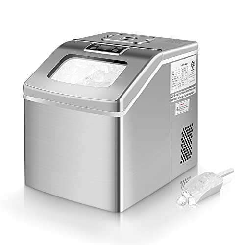 Ice Maker Machine Countertop 40lbs/24H, Auto Self-Cleaning, 24 Clear Square Ice Cubes Ready in 15 Minutes, Portable Compact Ice Maker with Scoop& Storage Basket, Perfect for Home Kitchen Bar Office