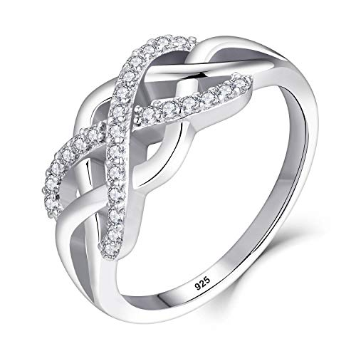 Starchenie Sterling Silver Infinity Ring for Women Celtic Love Knot Heart Ring with Cubic Zirconia
