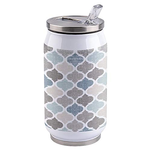15oz Stainless Steel Liner Vacuum Tumbler Moroccan Pattern Geometry Thermal Insulation Vacuum Cup with Straw & Slider Lid Blue Gray Portable Cola Can for Travel, Sports, Camping
