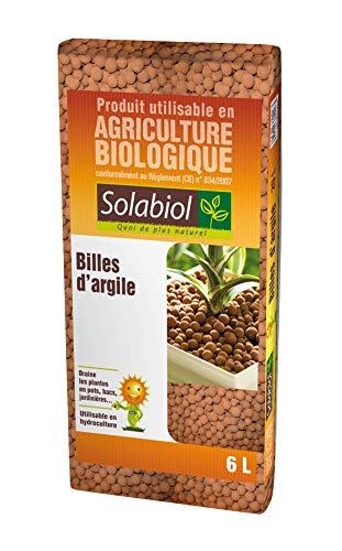 Solabiol SOARG6 Billes d'argile-Sac 6 L-Utilisable en Agriculture Biologique Hydroculture Paillage, Neutre