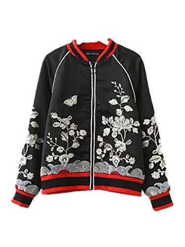 Rinalay Jacken Damen Elegante Herbst Mode Bestickt Mit Zipper Longsleeve Bomberjacke Bekleidung Vintage Freizeit Pilotenjacke Jungen...