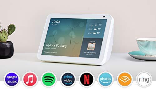 Introducing Echo Show 8 | 8 HD smart display with Alexa, Sandstone fabric
