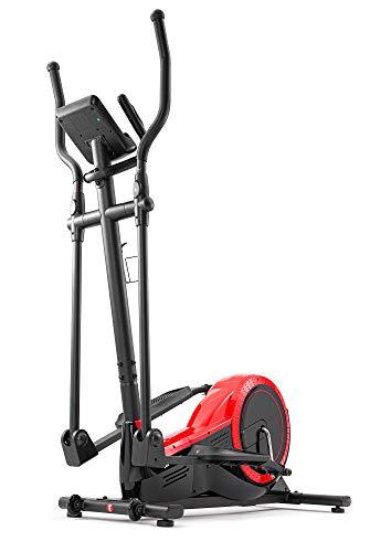 Hop-Sport Elliptical Crosstrainer für Zuhause HS-050C - Ellipsentrainer Ergometer mit 12 Trainingsprogrammen und HRC-Modus - belastbar bis 150kg rot