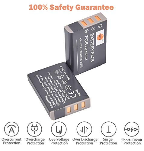 DSTE Replacement for 2X NP-95 Li-ion Battery Compatible Fujifilm Finepix F30 F31FD Real 3D W1 X30 X70 X100T X100 X100LE X100S X-S1 Compatible Ricoh DB-90 GXR Mount A12 P10 Camera