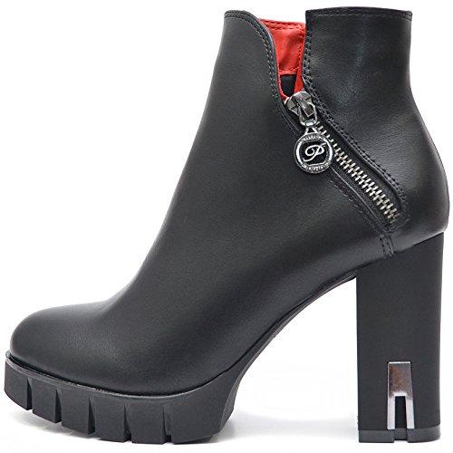Plateau Damen Schuhe Schwarze Blockabsatz High Heels Ankle Boots Stiefeletten Kurz Stiefel mit Reißverschluss (39, Schwarz)