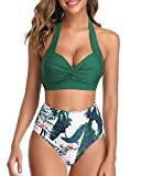 Tempt Me Women's Vintage Swimsuit Retro Halter Ruched High Waist Bikini Green S