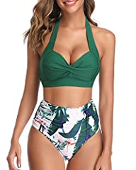 Adjustable self-tie halter neck with a clasp hook closure on the back, padded push up bra with adjustable straps bikini top provides maximum support. High waist bikini high-cut legs with a figure-flattering pleated front panel hides the imperfections...