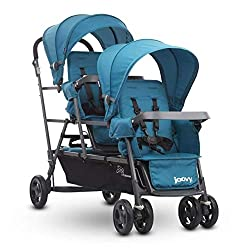 Triple stroller with standing platform