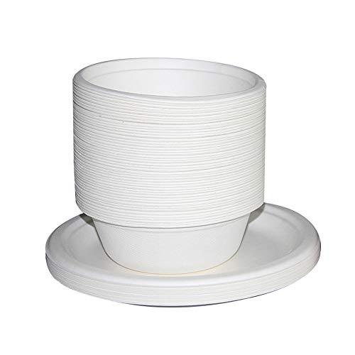 Vlook 200Pcs biologisch abbaubare Papierschale, 5-Zoll-Einwegplatte, umweltfreundlich, wasserdicht und ölbeständig, für Hochzeiten Bbqs Events