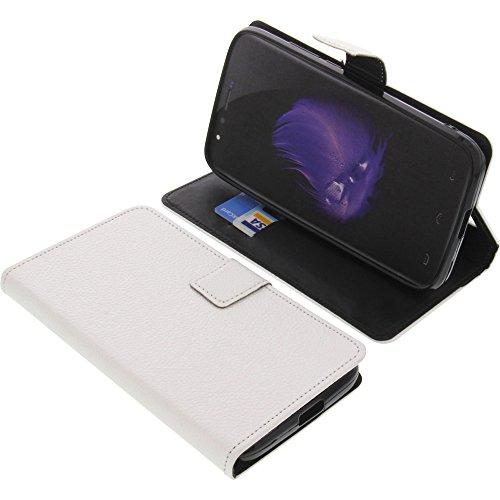 foto-kontor Tasche für HomTom HT50 Book Style weiß Schutz Hülle Buch