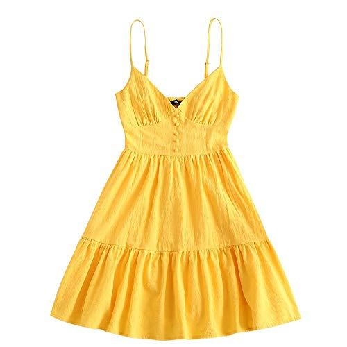 ZAFUL Damen Knopf verschönert Smocked Volant Saum Cami Kleid Minikleid Strandkleid Shirred Ärmelloses Kleid