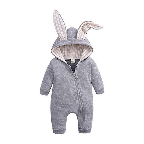 SERAPHY Baby Strampler mit kleinen Hasenohren Neugeborenes Baby mit Kapuze Reißverschluss Overall Outwear Pullover Geschenke für Kinder-HY2487A-GR-66