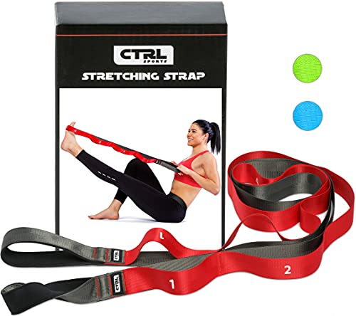CTRL Sports Stretching Strap with Loops for Physical Therapy, Yoga, Exercise and Flexibility - Non Elastic Fitness Stretch Band + Exercise Instructions & Carry Bag