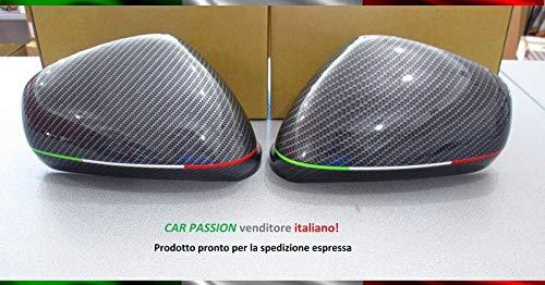 Coppia Calotte Specchio Carbon Look Nuove Coprispecchi per Giulietta Mito 159 Retrovisori Effetto Carbonio Bandiera Italia Tricolore