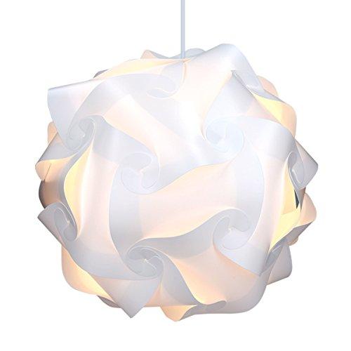 kwmobile DIY Puzzle Lampe XL Deckenlampe - Pendelleuchte Schirm Lampe - Set mit Deckenbefestigung 90cm Kabel E27 Fassung - Puzzlelampe in Weiß
