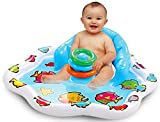 Bundaloo Infant Pool Splash Mat Inflatable with Backrest & Stackable Ring Toys   Summer Fun Activity for Baby Toddlers   Easy Setup