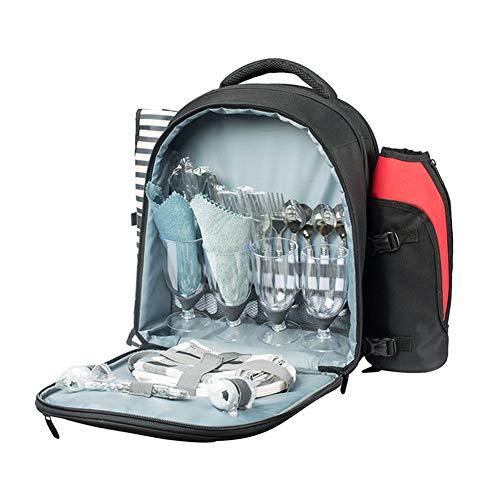 Picknickrucksack Tasche Für 4 Personen Mit Picknickdecke, 600D Oxford Stoff Picknick Rucksack Set Mit Kühlfach, Abnehmbare Flasche/Weinhalter, Für Camping Barbecue Party