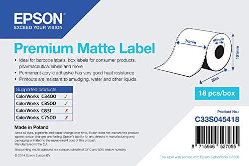 Epson Premium matte Label Continuous, 1 Roll, 76 mm x 35 m