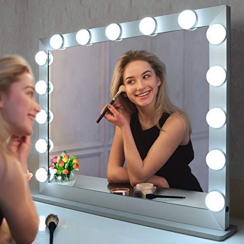 WONSTART Grande Hollywood Specchio Trucco con 15 LED Illuminato Regolabile a Tocco con 3 impostazione Luci Specchio Desktop o Montaggio a Parete Specchio di Bellezza (Argento)