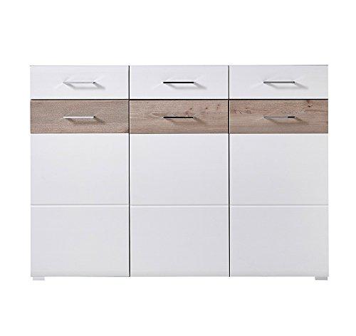 lifestyle4living Kommode in Silbereiche Nb. mit Fronten in weiß-Struktur, Absetzungen in Silbereiche Nb, 3 Türen und 3 Schubkästen, Maße: B/H/T ca. 144/104/40 cm