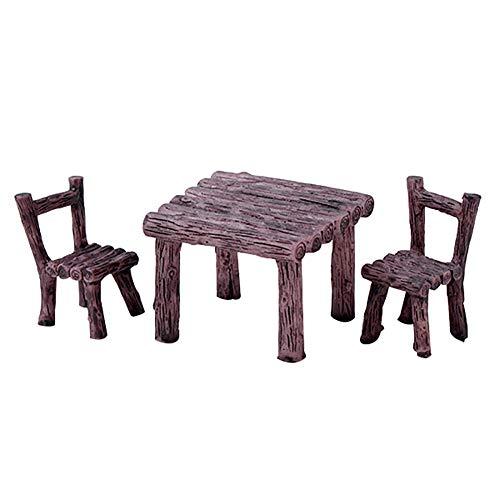 tianxiangjjeu 3-teiliges Set niedlicher Tisch und Stühle, Micro Landscape Garten Topf Dekoration