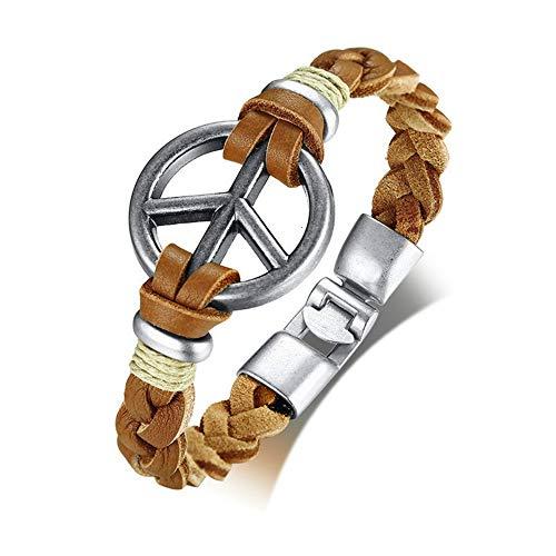 Retro Peace Symbol Herrenarmband Handgefertigte Geflochtene Echte Lederseilarmbänder Armreifen 8.46 \