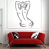 fancjj Salón de SPA Tatuajes de Pared Mujer Cuerpo Vinilo Pegatina de Pared Sala de masajes Salón de Belleza Decoración Interior Impermeable Arte Mural