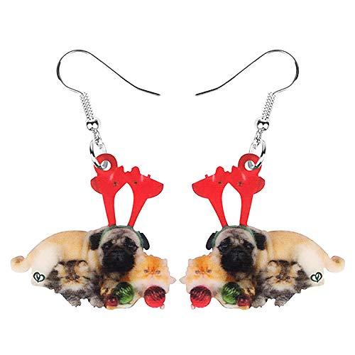 N\A Pendientes de Bola de acrílico de Navidad Gato Persa Pug Perro Colgante Colgante Animal Juguete Mascota Mujeres niñas niñas Adolescentes Multicolor